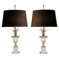Fabulous Pair of Maison Charles Silvered Metal Urn-Form Table Lamps