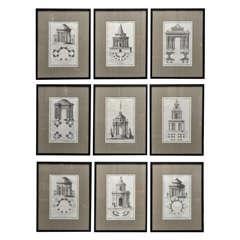 A Sleek Set of Nine Framed French Engravings of Pavilions