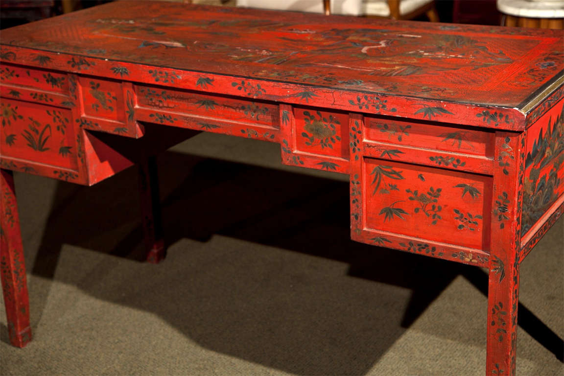 Red Lacquer Chinoiserie Desk For 4
