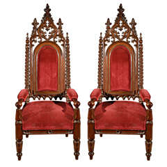 Pair of Gothic Style Armchairs