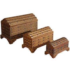 Set of Ten Decorative Gilt Boxes