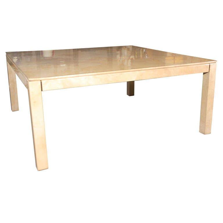 Large Square Parchment Table by Karl Springer