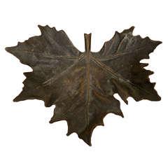 German Jugendstil Bronze Leaf Dish