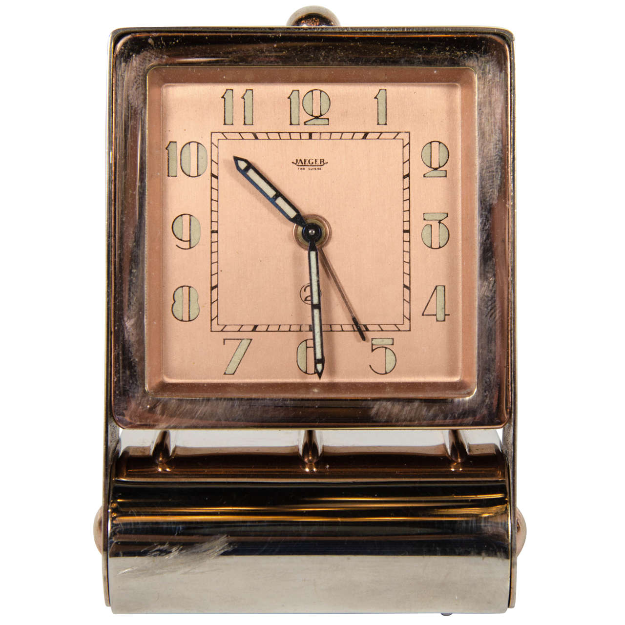 Art deco rose gold table or travel alarm clock at 1stdibs Art deco alarm clocks