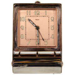 Art Deco Rose Gold Table or Travel Alarm Clock
