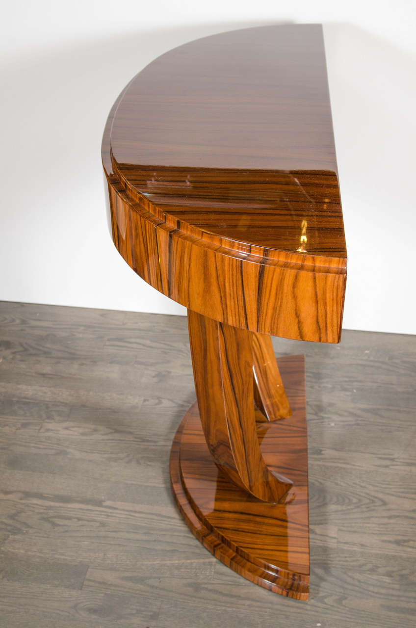 Art deco demilune console table in book matched rosewood for Art 1576 cc