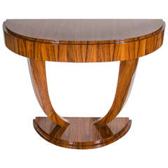 Art Deco Demilune Console Table in Book-Matched Rosewood