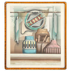 Original Lithograph by James Carter with Southwest Pottery Theme