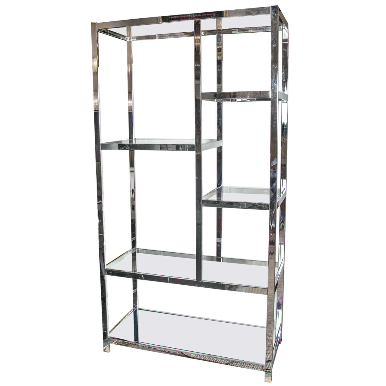 Modernist chromed tag re with mirror and glass shelves by for Miroir etagere