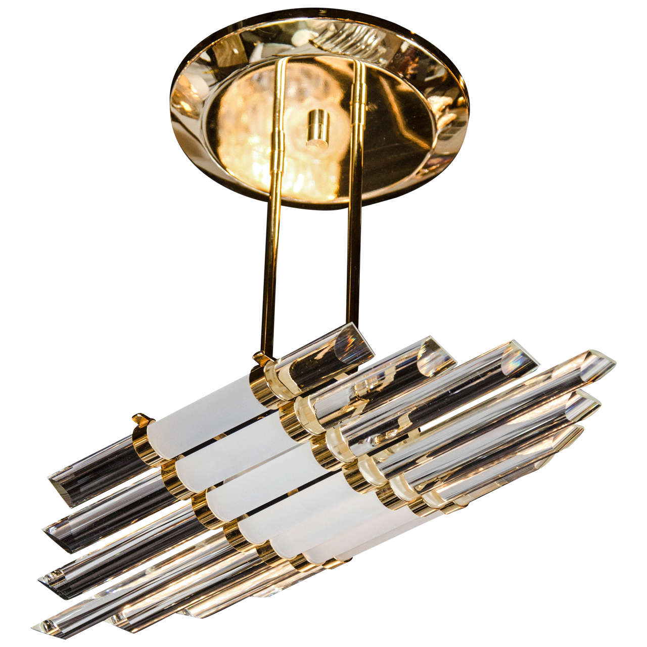 Mid-Century Modernist Skyscraper Style Glass Rod Chandelier with Brass Fittings