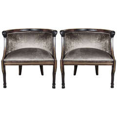 Pair of Neoclassical Style Occasional Chairs with Rams Head Detailing