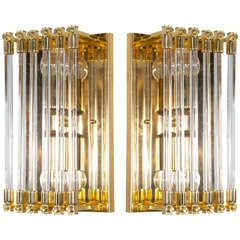 Pair of Mid-Century Modernist Brass and Glass Rod Sconces