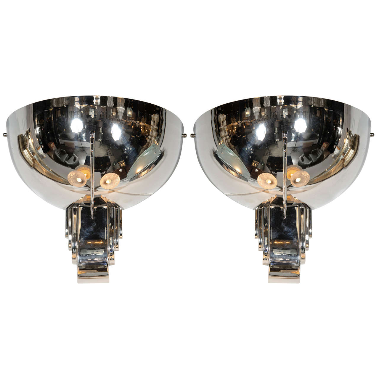 Pair of Art Deco Skyscraper Style Sconces in the Manner of Jean Perzel For Sale at 1stdibs