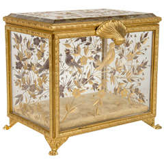 Exquisite French Empire Bronze Ormolu Mounted Crystal Box