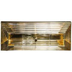 Mid-Century Modernist Rectilinear Brass and Glass Rod Flush Mount Chandelier