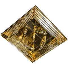 Mid-Century Modernist Brass and Glass Rod Square Flush Mount Chandelier