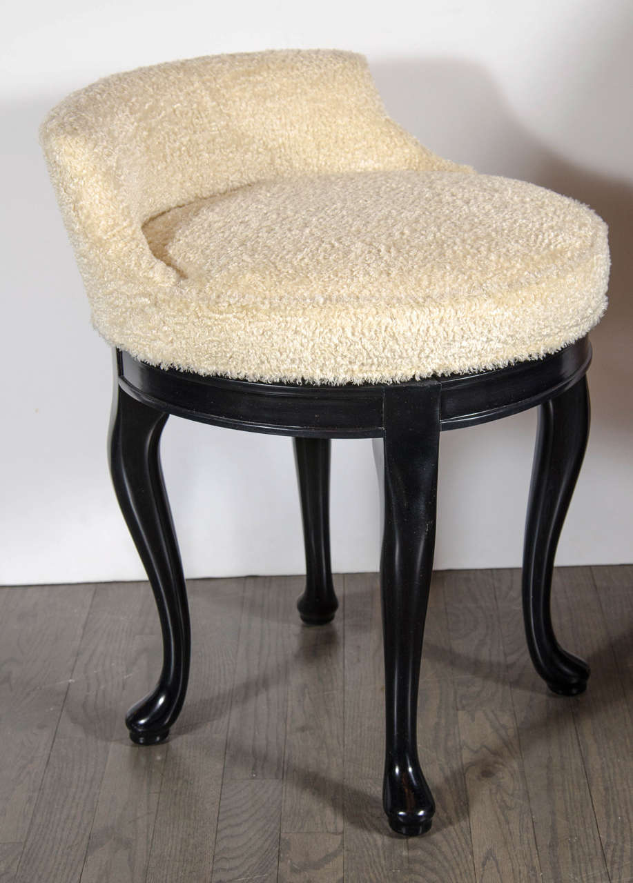 1940s Hollywood Swivel Vanity Stool In Faux Lambs Wool And