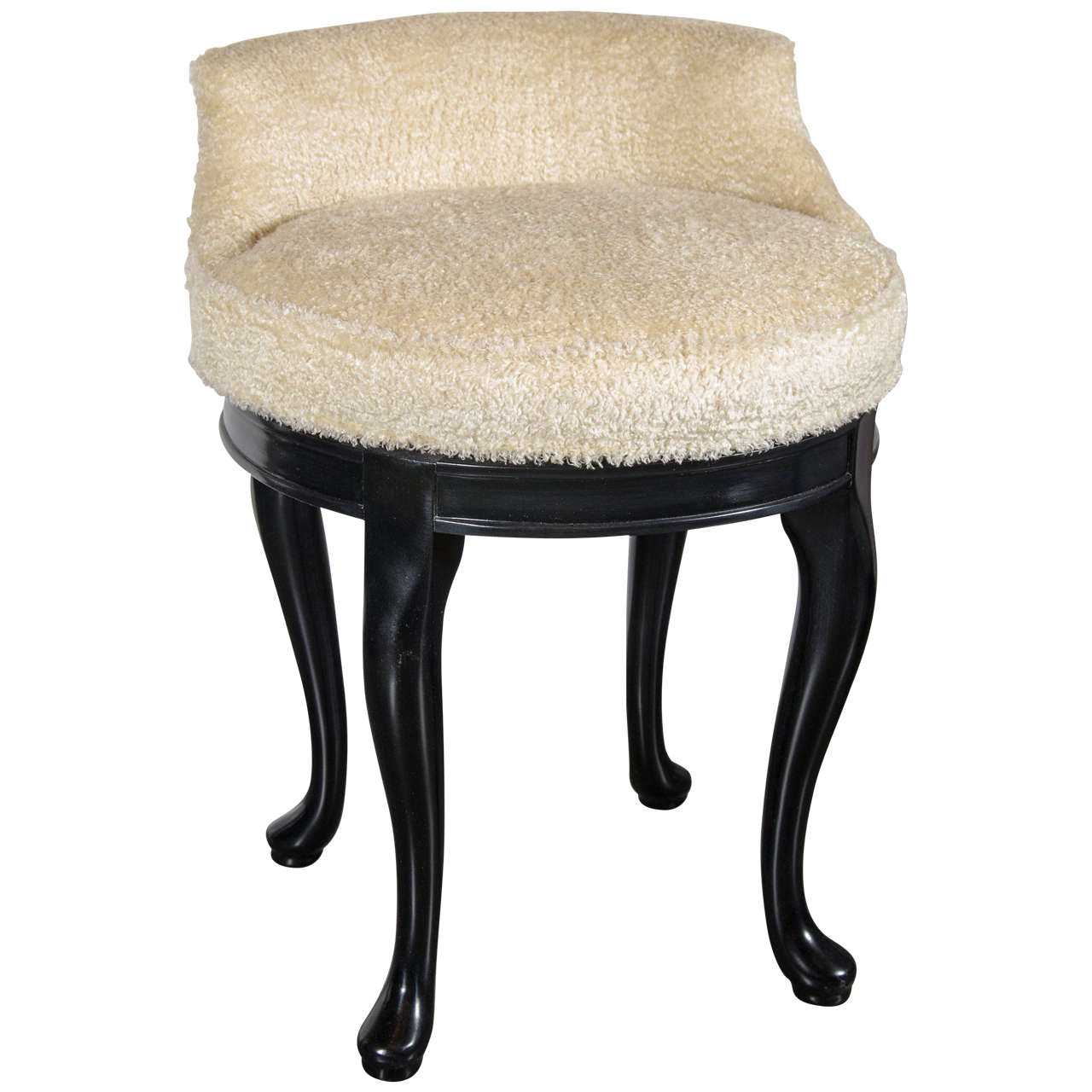 1940s hollywood swivel vanity stool in faux lambs wool and ebonized walnut 1