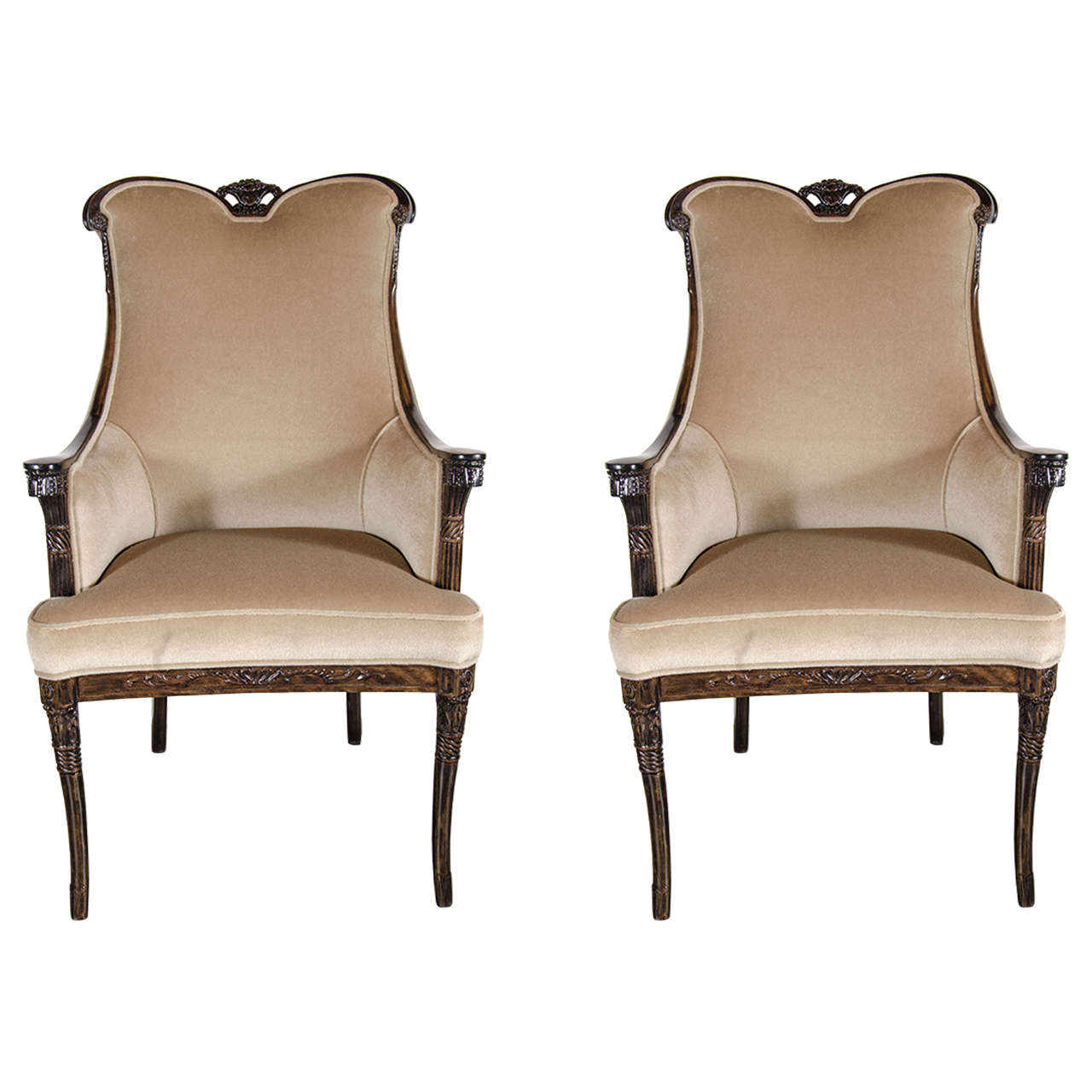 Pair of 1940s Hollywood Style Occasional Chairs by Grosfeld House 1. Pair of 1940s Hollywood Style Occasional Chairs by Grosfeld House
