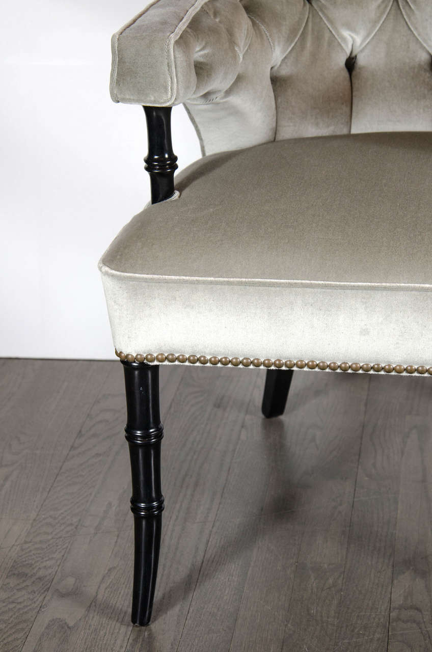 American Pair of Mid-Century Modernist Tufted Klismos Chairs with Stylized Bamboo Legs For Sale