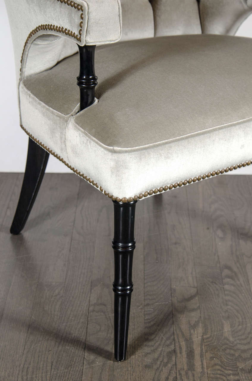 Pair of Mid-Century Modernist Tufted Klismos Chairs with Stylized Bamboo Legs In Excellent Condition For Sale In New York, NY