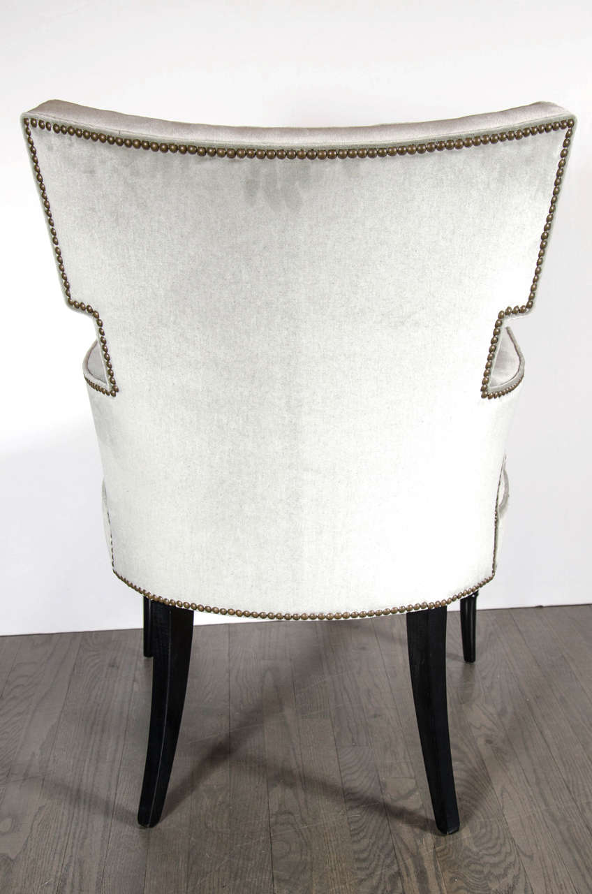 Pair of Mid-Century Modernist Tufted Klismos Chairs with Stylized Bamboo Legs For Sale 2