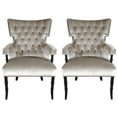 Pair of Mid-Century Modern Tufted Klismos Chairs with Stylized Bamboo Legs