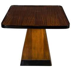 Art Deco Pyramid Base Occasional Table with Bookmatched Exotic Mahogany