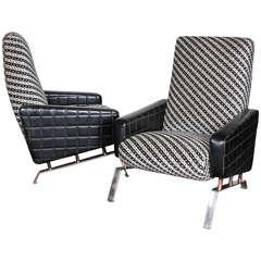 Pair of Italian mid century Armchairs with Angular Metal Bases