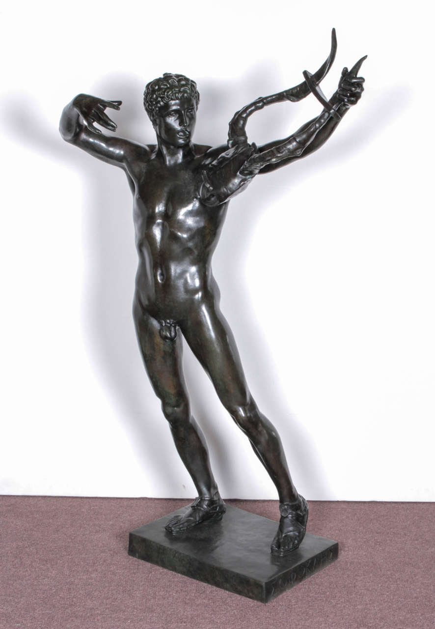 Original American bronze sculpture of The Young Sophocles leading the Chorus of Victory after the battle of Salamis with his Lyre by John Talbott Donoghue.  Like an Olympic athlete, the young male nude stands tall and proud.  Artist signed,