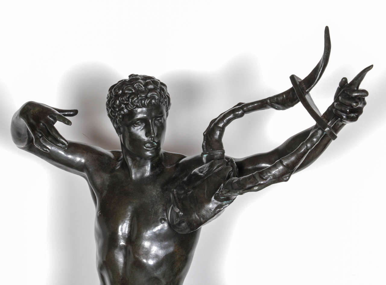 Neoclassical Large, Original Bronze Fully Nude Male