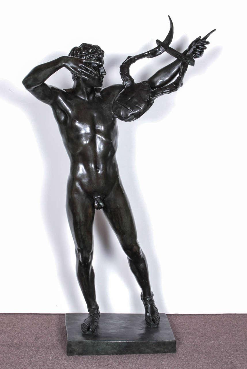 American Large, Original Bronze Fully Nude Male