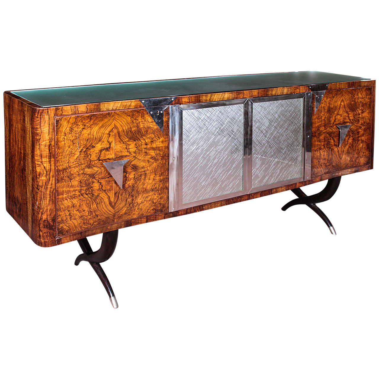 Genial Italian Burl Wood, Sabre Leg And Glass Vintage Cabinet In The Style Of P.