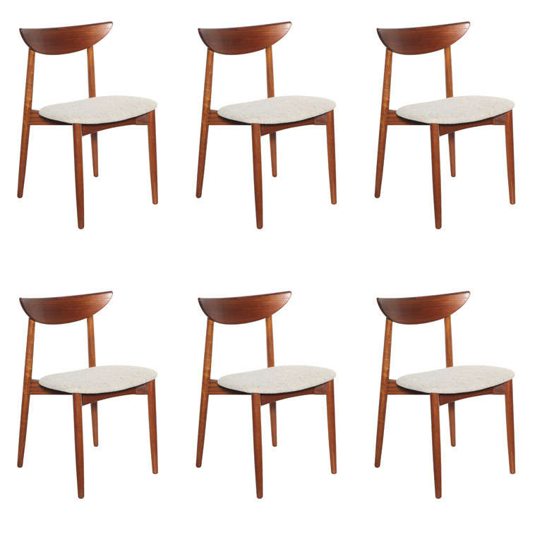 Set Of 6 Teak Crescent Back Dining Chairs By Harry