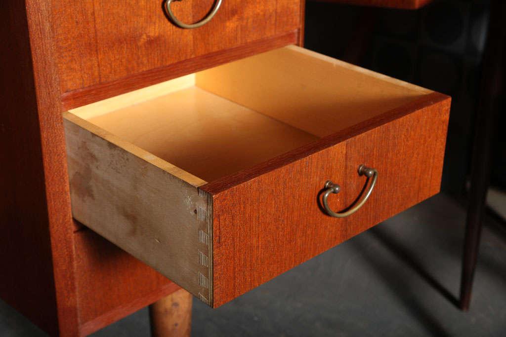 Danish Modern Kidney Shaped Teak Desk With Tambour Doors