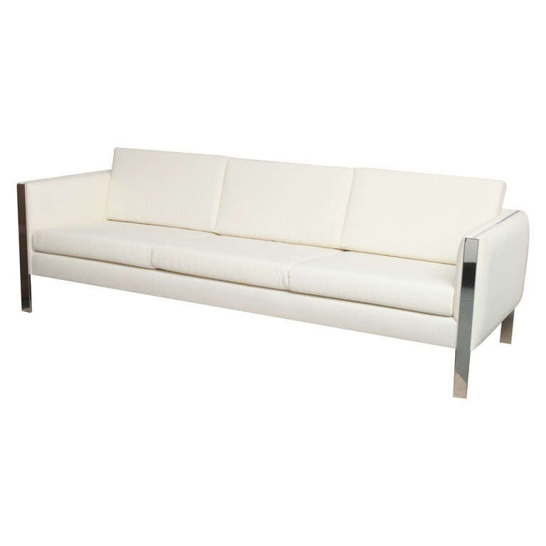 Sofa, Muslin Upholstery in Milo Baughman Style For Sale