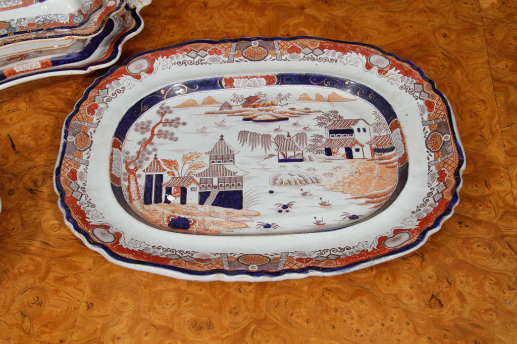 Porcelain Mid-19th Century Ashworth Mason's Imari Ironstone Dinner Service For Sale