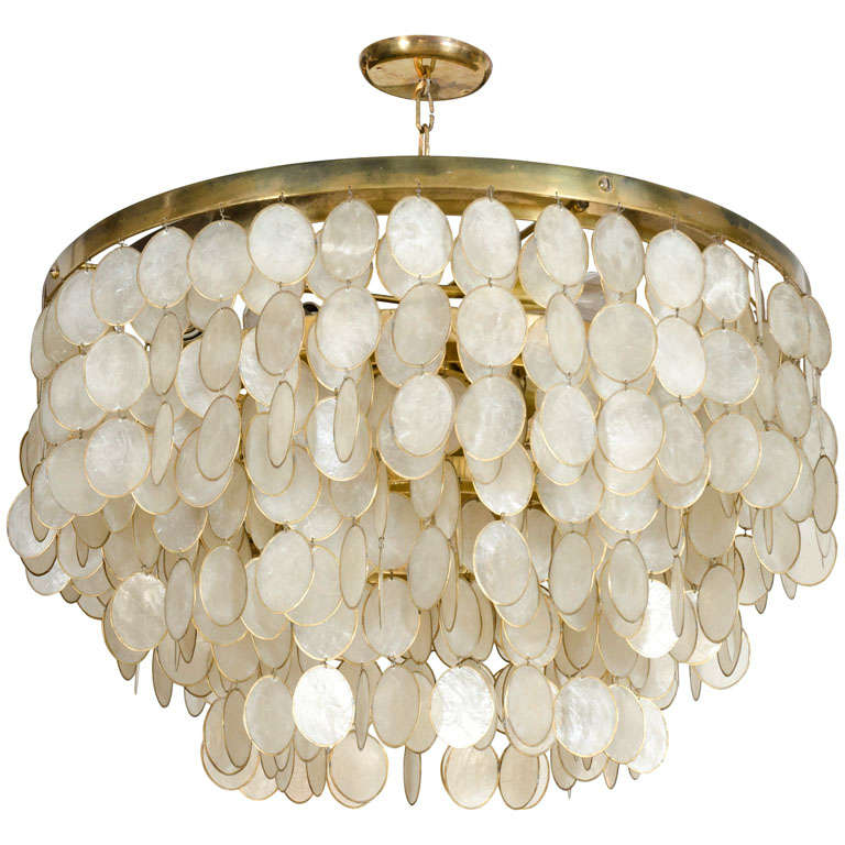 Captivating Capiz Shell Chandelier At 1stdibs