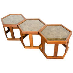 Set of Three Hexagonal Copper Topped End Tables by John Keal