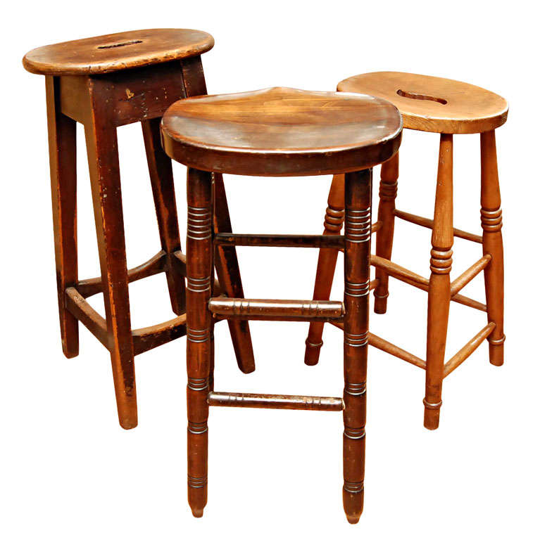 3 English Pub Stools At 1stdibs