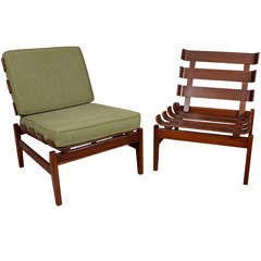 Pair of unusual, hand crafted lounge chairs