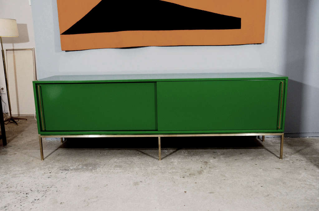 American re: 379 Green Lacquered Sliding Door Credenza on Satin Brass Base For Sale