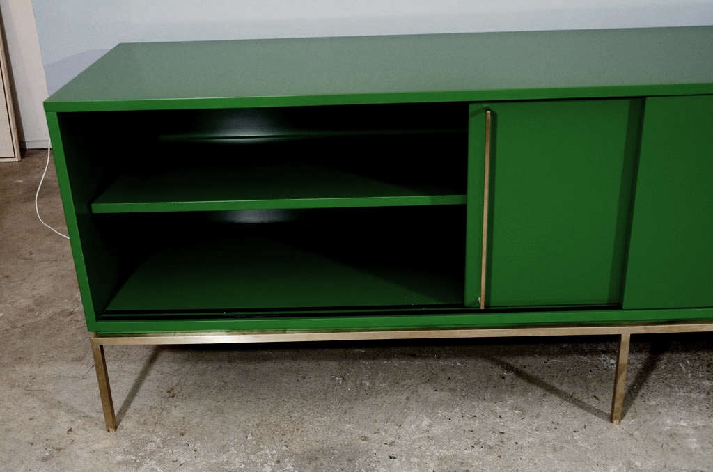 re: 379 Green Lacquered Sliding Door Credenza on Satin Brass Base For Sale 1