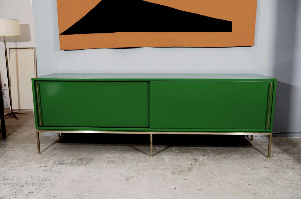 re: 379 Green Lacquered Sliding Door Credenza on Satin Brass Base For Sale 2