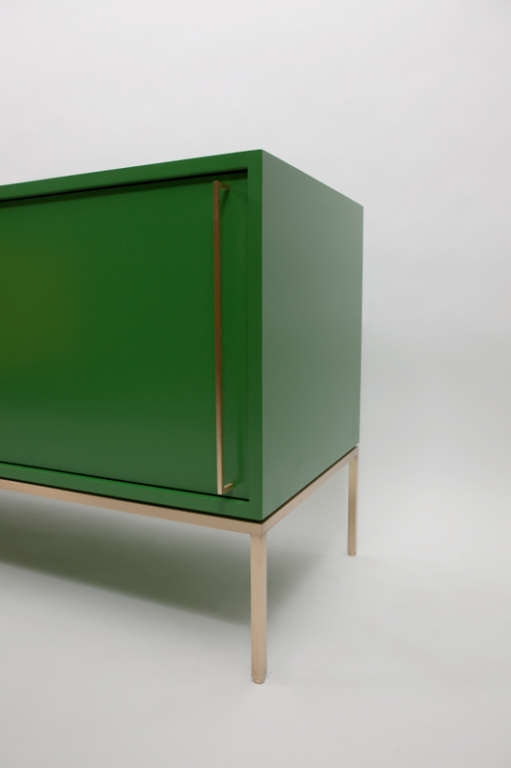 Contemporary re: 379 Green Lacquered Sliding Door Credenza on Satin Brass Base For Sale
