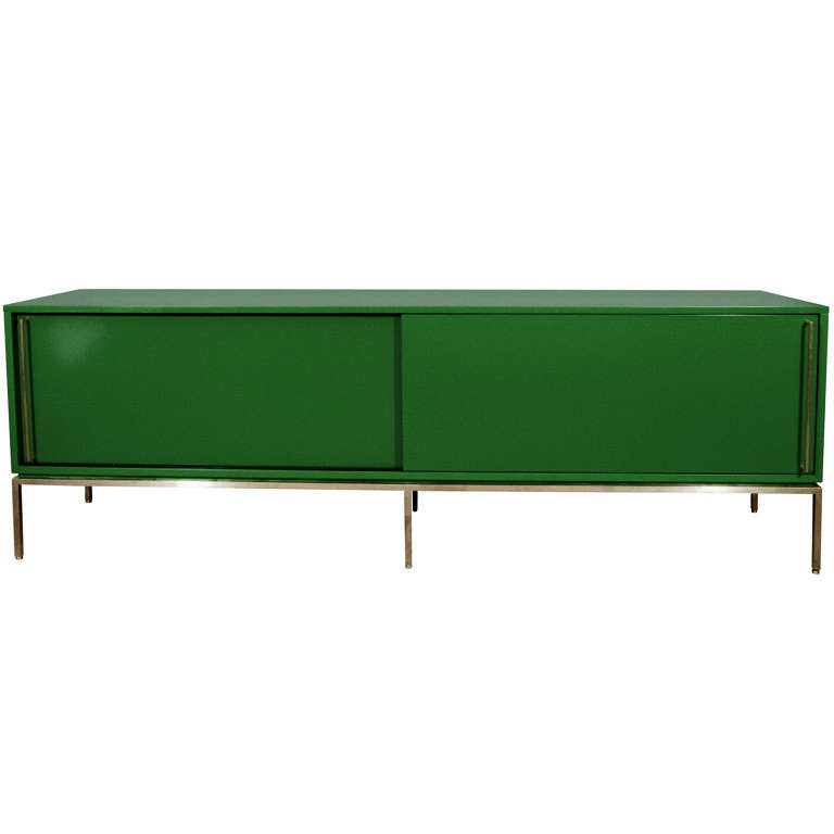 re: 379 Green Lacquered Sliding Door Credenza on Satin Brass Base For Sale