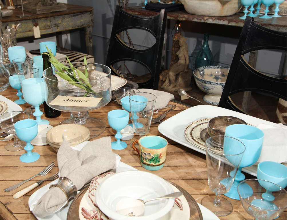 Mid-20th Century French Blue Opaline Glassware For Sale