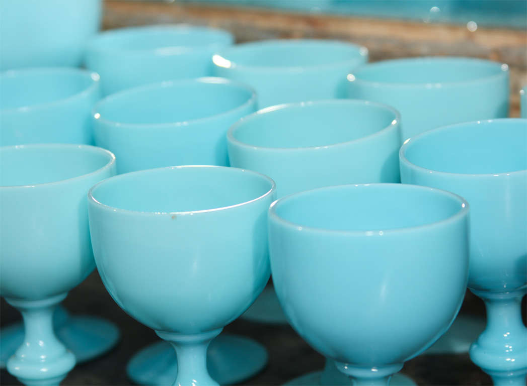 French Blue Opaline Glassware For Sale 1