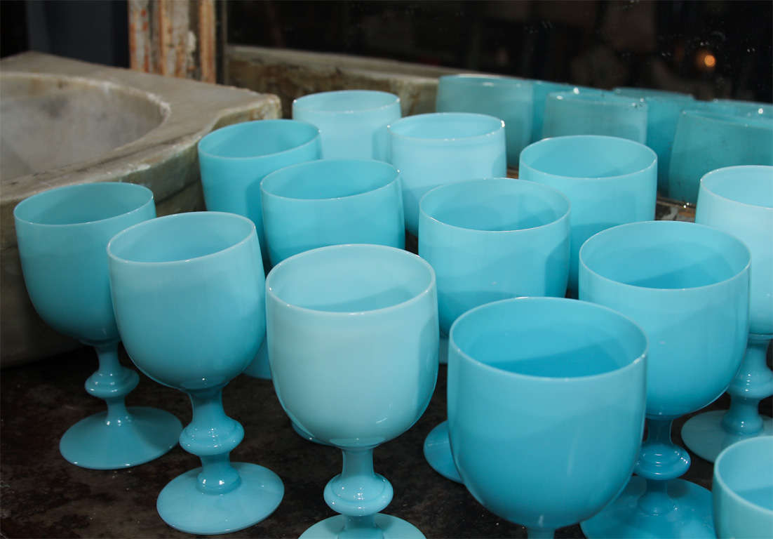 French Blue Opaline Glassware For Sale 3