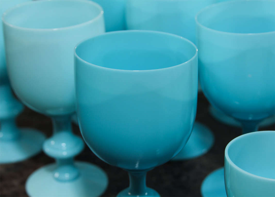 French Blue Opaline Glassware For Sale 5